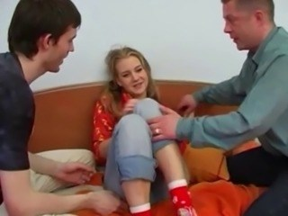 Blonde Family Strapon Teen Threesome Young