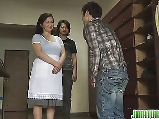 Asian Japanese Mature Mom Old and Young Strapon Threesome
