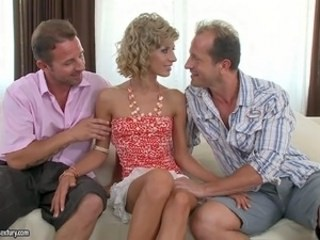 Blonde Cuckold MILF Strapon Threesome