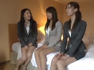 Amazing Asian Japanese MILF Secretary Strapon