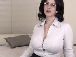 Amazing Big Tits Brunette Cute Glasses MILF Natural Strapon