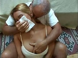 Blonde Daddy Daughter Forced Old and Young Strapon