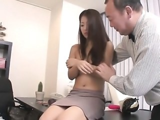 Asian MILF Office Secretary Strapon