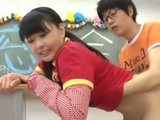 Asian Brunette Clothed Cute Doggystyle Teen