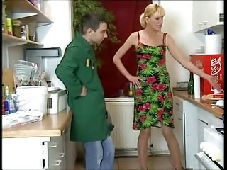 Blonde Kitchen Mature Mom Old and Young Strapon