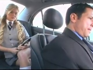 Blonde Car Daddy Long hair Old and Young Strapon Student Teen Uniform Young