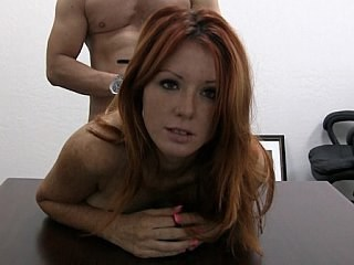 Anal Casting Doggystyle MILF Office Redhead Strapon