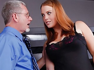 Amazing Cute Daddy MILF Office Pornstar Redhead Strapon