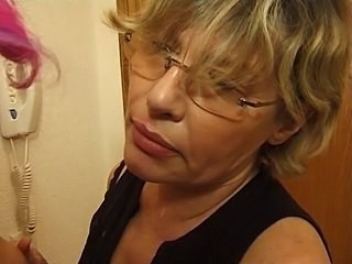 Blonde Glasses Mature Mom Strapon