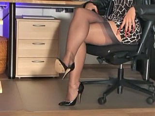 Amazing Legs MILF Office Secretary Stockings Strapon