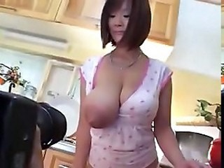 Asian Big Tits Kitchen MILF Nipples Silicone Tits Strapon