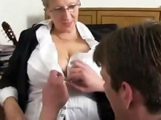 Big Tits Glasses Mature Mom Old and Young Strapon
