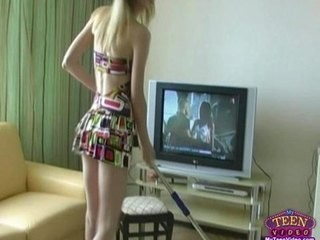 Blonde Daughter Skinny Strapon Teen Young