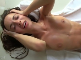 Brunette MILF Orgasm Small Tits Strapon