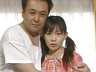 Asian Daddy Daughter Old and Young Pigtail Strapon