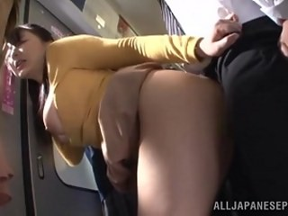 Asian Clothed Japanese MILF Public Strapon