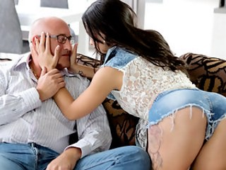 Amazing Brunette Daddy Daughter Jeans Old and Young Strapon Teen Young