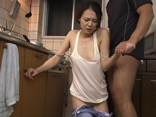 Asian Forced Japanese Kitchen Mature Mom Old and Young Strapon