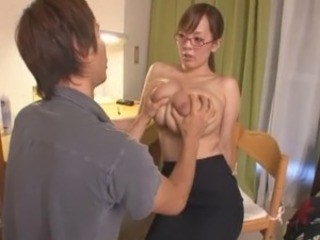 Amazing Asian Big Tits Cute Glasses Japanese MILF Natural Pornstar Strapon Teacher