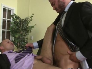 Office hunk sucks cock then rams his employers butt