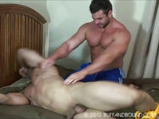 Tickling Huge muscle guy