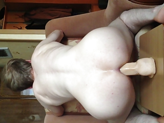 Dildo rider. Jumping on a big dildo BACK VIEW   part