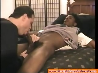 DILF sucking bbc on young straight ebony hunk