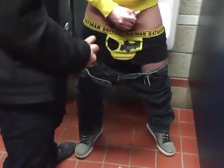 Public Bathroom circle jerk and fuck