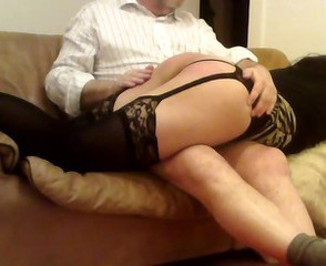 Naughty sissy crossdresser get spanked by daddy