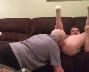 Old daddy riming, sucking and fucking younger man