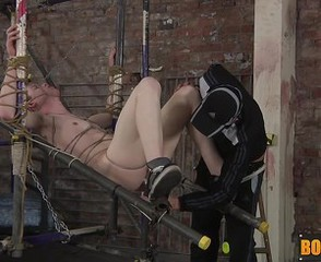 Tied up slave Leo gets his ass drilled by horny Deacon