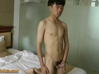 Cute Asian Twink Boy Jerks Off his big cock