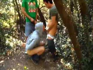 Buddy Record us Fucking Our Handcuffed Friend in the Forest.