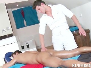 Gay stud giving butt and dick massage