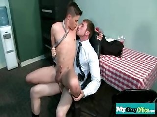 Hot gay dude sucks his boss cock and cums 17