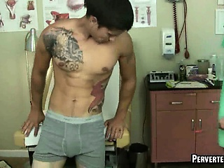 Horny doctor sucking on his patients rock hard cock