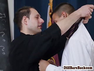 Dilf teacher facializes student after class