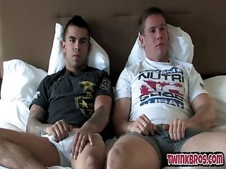 Sexy stepfather sucking huge cock