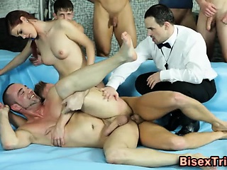 Bisexual group facials orgy