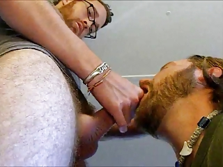 Sexy guy get huge facial from pierced cock