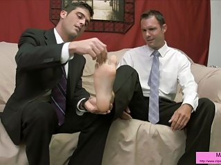 Two suits have a foot fetish frenzy FOOTJOB TOE SUCKING