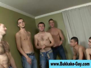 Gay bukkake loving twink group blowjobs
