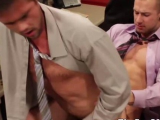 Gay office hunk riding his boss cock