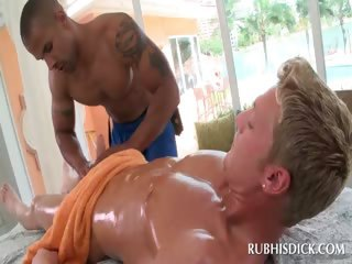 Blonde guy gets penis gay sucked