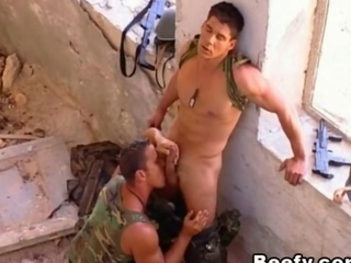 Soldiers Fucking Outdoors and tasting the beef bayonet