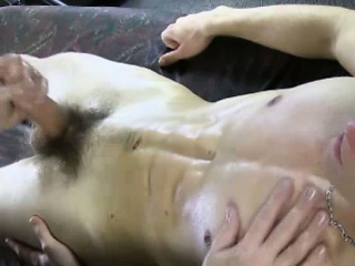 Straight bloke jizzes during gay rub down