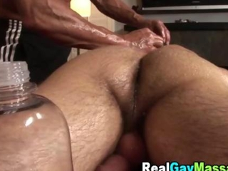 Straightys ass gets toyed by his masseur