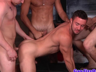 Beefy gay orgy dude gets covered in cum