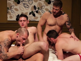 Athletic gay amateur orgy boys get together