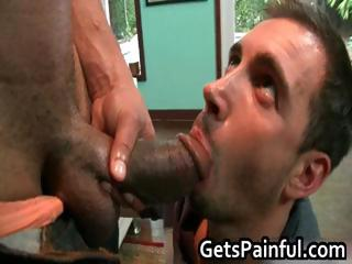 Dude gets his hairy anus fucked by black part
